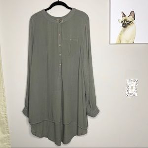 Free People Olive Button Down Long Sleeve Tunic